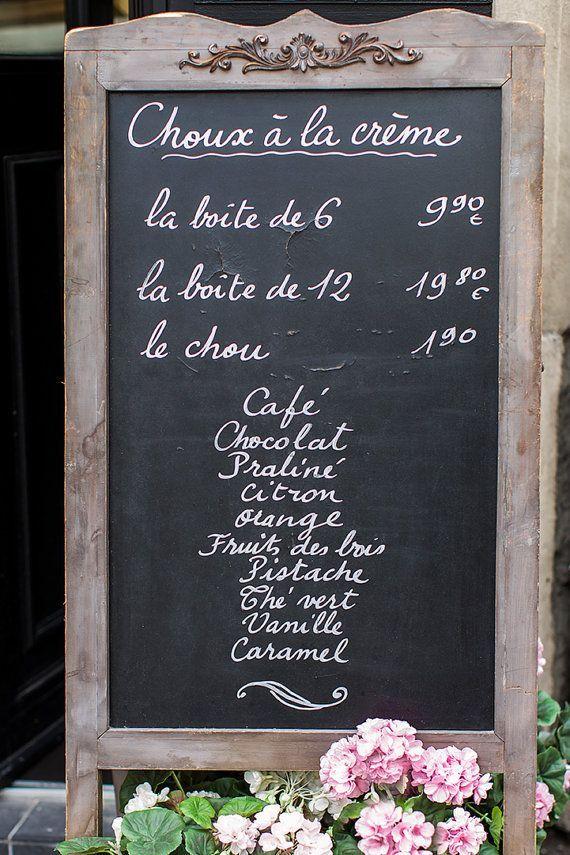 Paris Photography Chalkboard Menu Sign Paris Pastry Fine