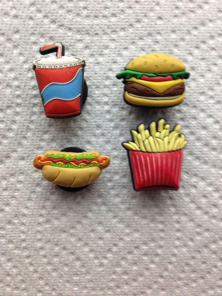 4 pcs food jibbitz food shoe charm fits crocs fries hotdog for Cuisine 0 crocs