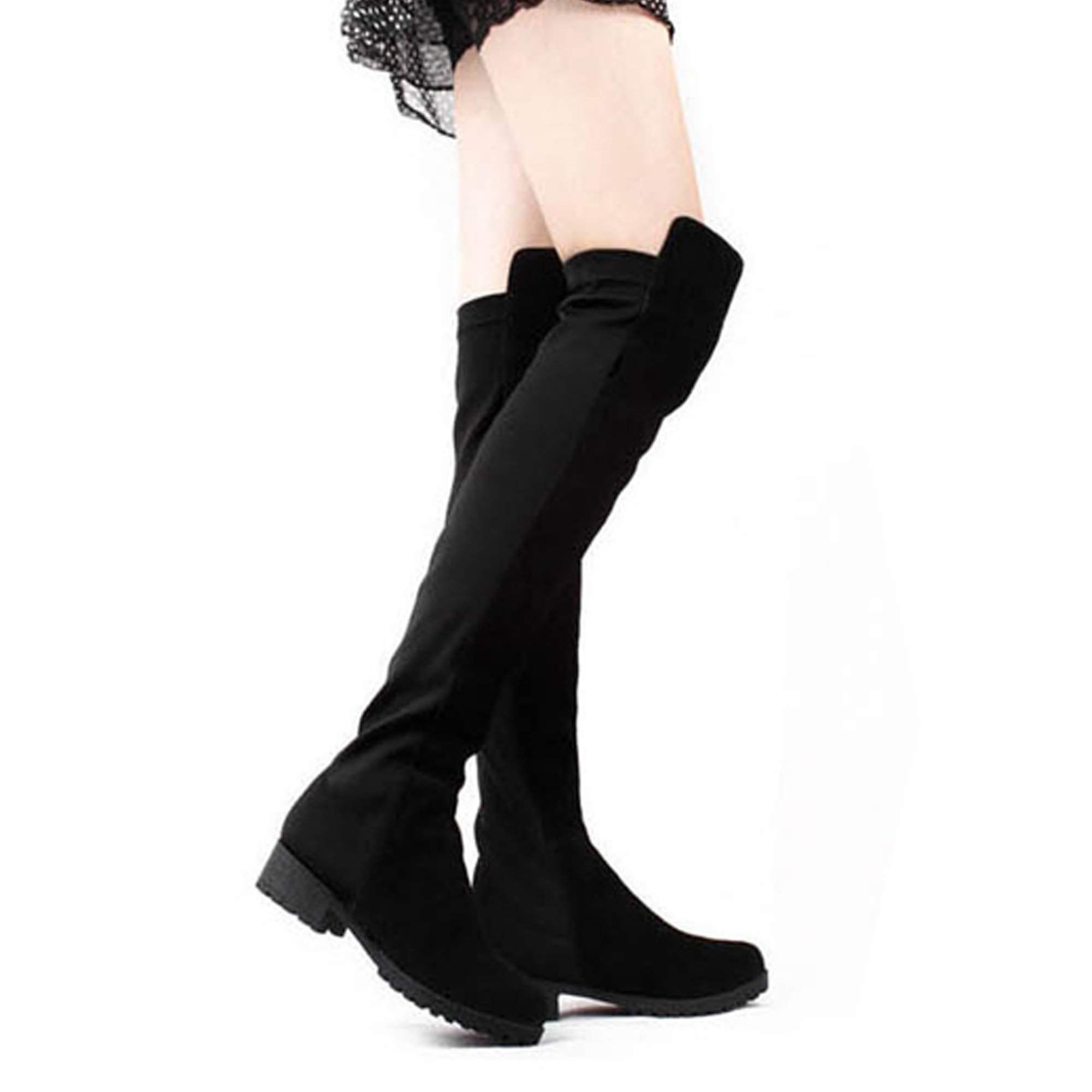 08a655b165636 Amazon.com: Zeagoo Black Fashion Women's Shoes Over the knee Faux ...