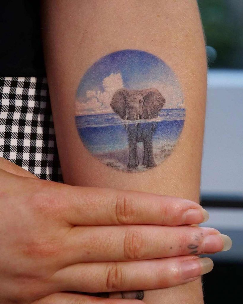 Elephant in the water by Eva Krbdk | Beautiful tattoos for
