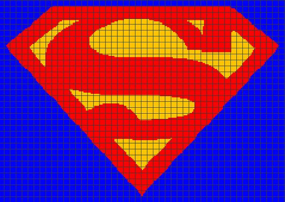 Superman Crochet Graphghan Pattern (Chart/Graph AND Row-by-Row