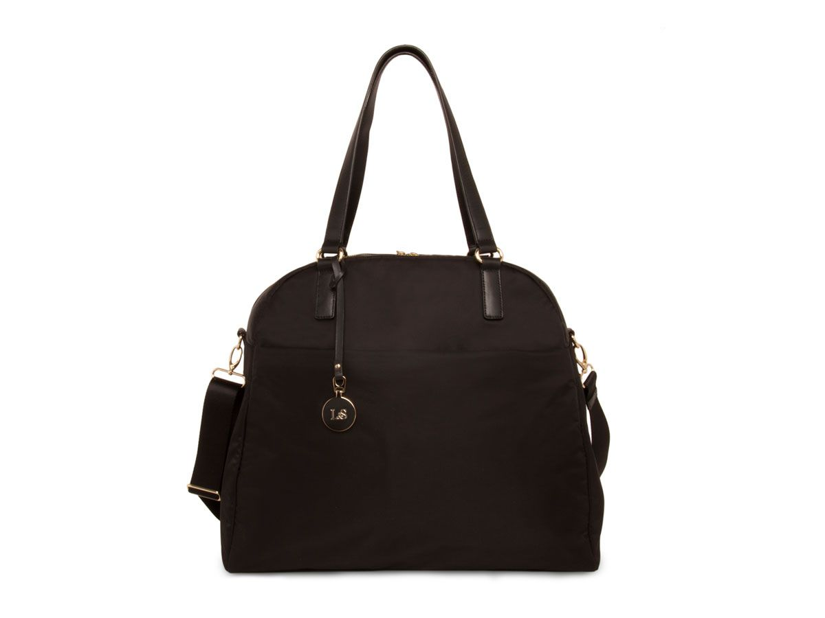 """2012   Lo - Overnight & GYM bag """"The O.G"""" Black exterior / light gold hardware / lavender interior.   30% OFF ALL PRODUCTS THROUGH JANUARY 1st WITH COUPON CODE: HOLIDAYS2012"""