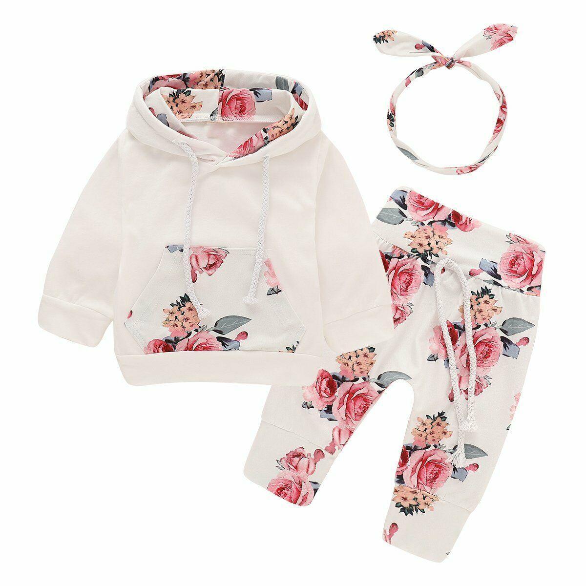 3Pcs nouveau-né Infant Baby Girl Tenues automne Haut à Capuche Floral pantalon vêtements Set
