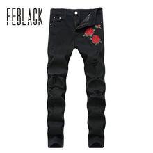 154a5343dc FEBLACK hombres A Estrenar Vaqueros Rosas Bordadas agujero Masculinos  pantalones Delgados Elásticos Pantalones de Mezclilla de