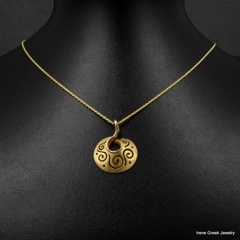 Greek Key  Pendant Chain 14K Solid Yellow Gold Greek Handmade Art Rare Luxury by IreneGreekJewellery on Etsy https://www.etsy.com/listing/222237180/greek-key-pendant-chain-14k-solid-yellow
