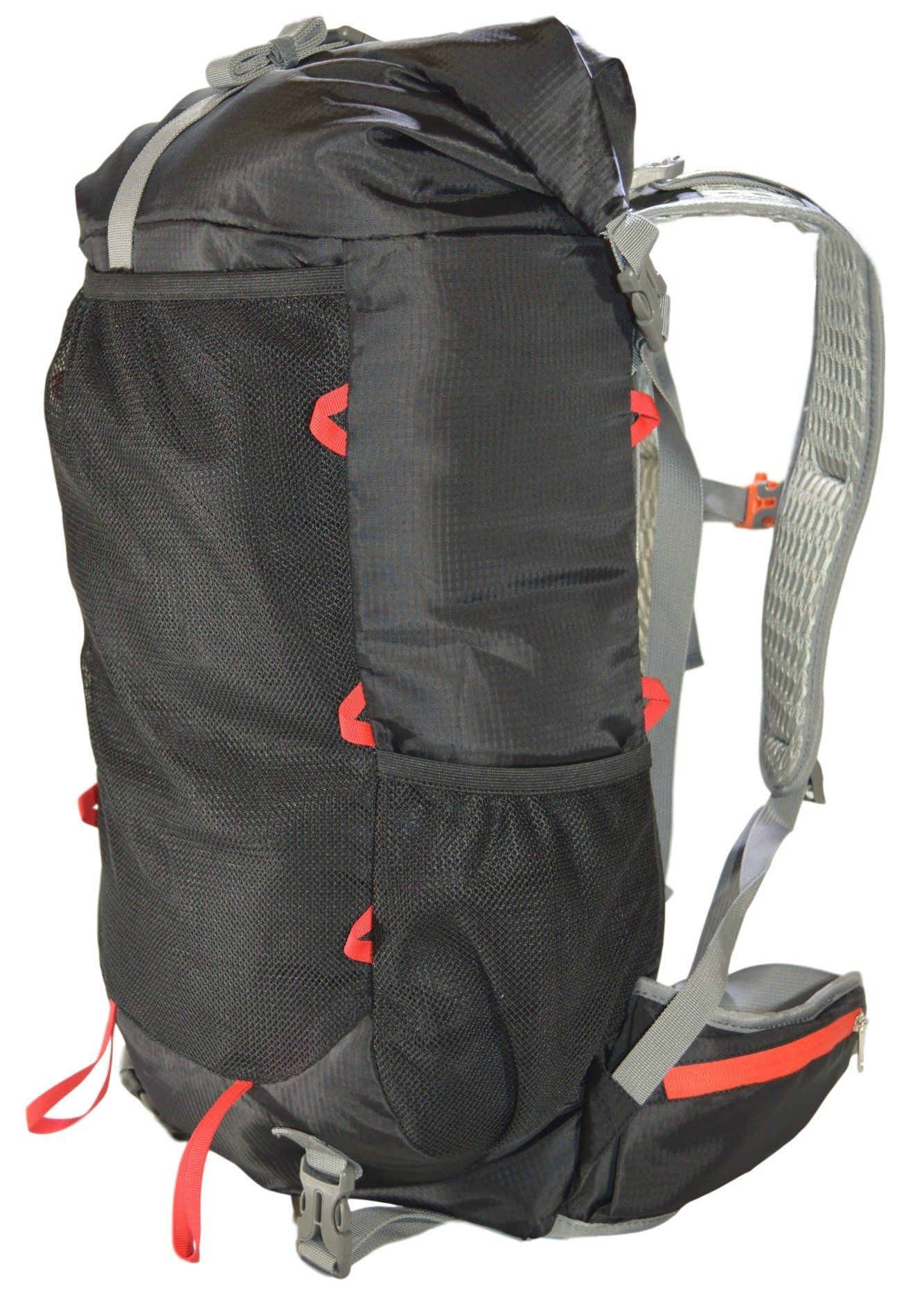 GoBackTrail Roll Top Black Backpack - ULTRALIGHT 35L - 50L with Removable  Internal Frame – Always e2e0a2ee55781
