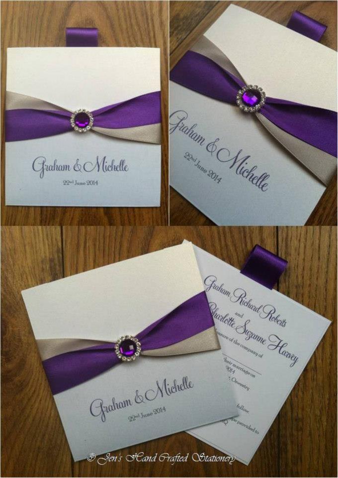 Cadburys purple and silver grey wallet Wedding invitation www ...