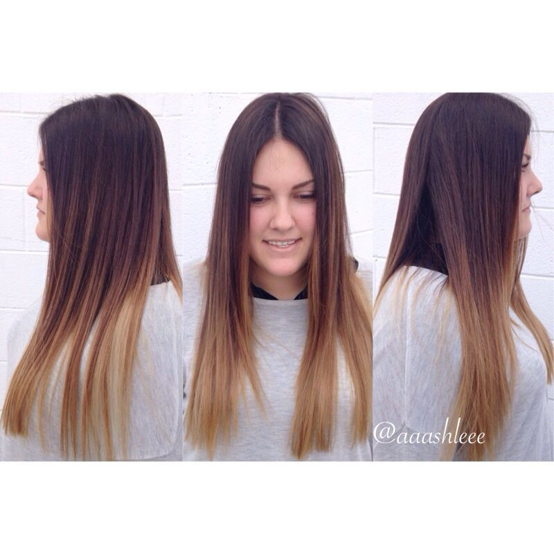 Ombre Subtle Balayage Brown Beige Blonde Long Hair Straight Hair