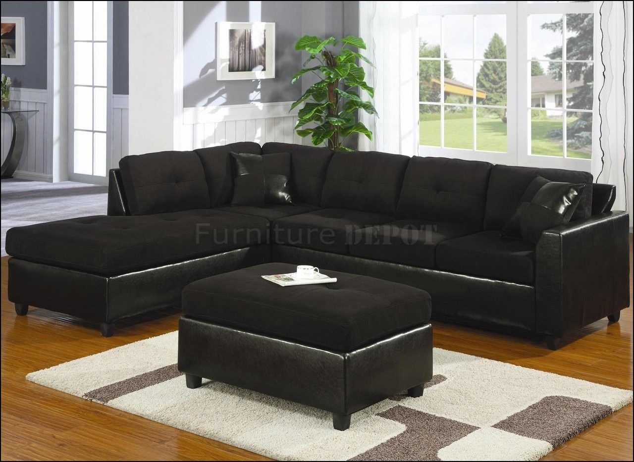 Black Suede Sectional Couch Micro Fresh Microfiber For Set ...