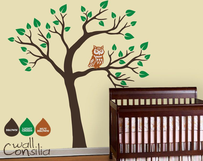 "Baby Nursery Wall Decals - Owl Tree Wall Sticker - Tree Wall Decal - Tree Decals - Large: approx 79"" x 75"". $78.00, via Etsy."