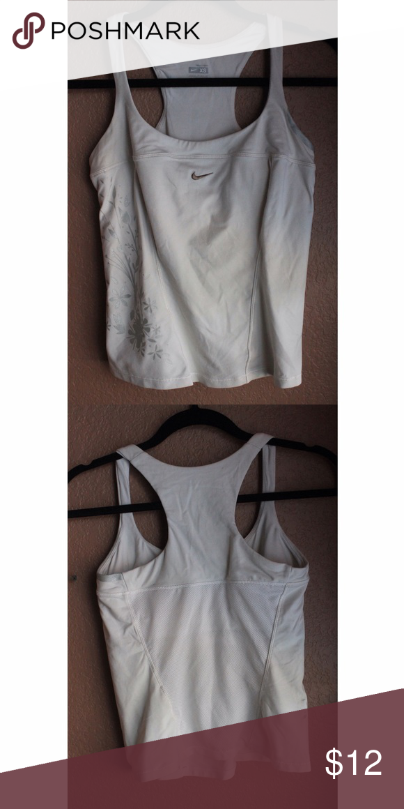 Nike dry fit tank White and mesh like material down back Nike Tops Tank Tops