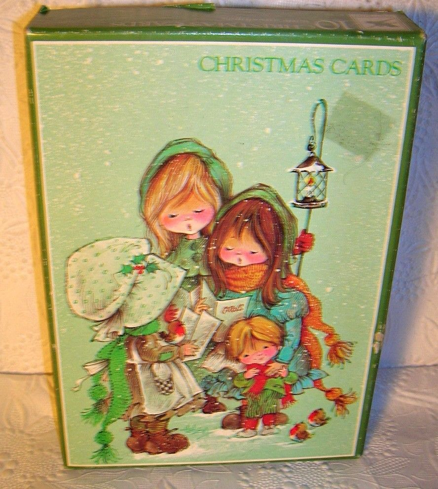 7 vtg christmas cards by fantusy paper products unused made in usa