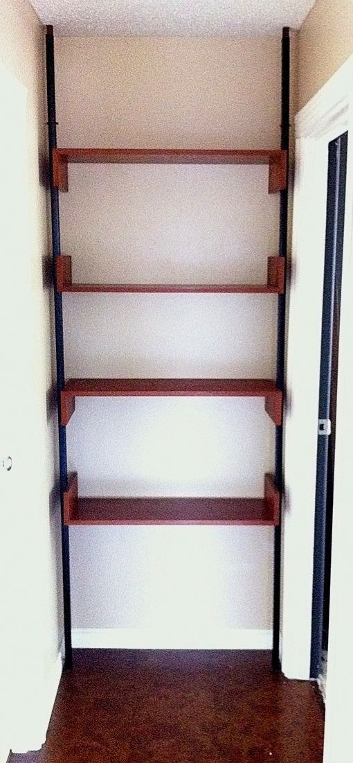 My Own Tension Pole Room Divider Shelf I Didn T Need To Divide A Room So I Filled The End Of The Hall Quite Remarkable That It Fi Room