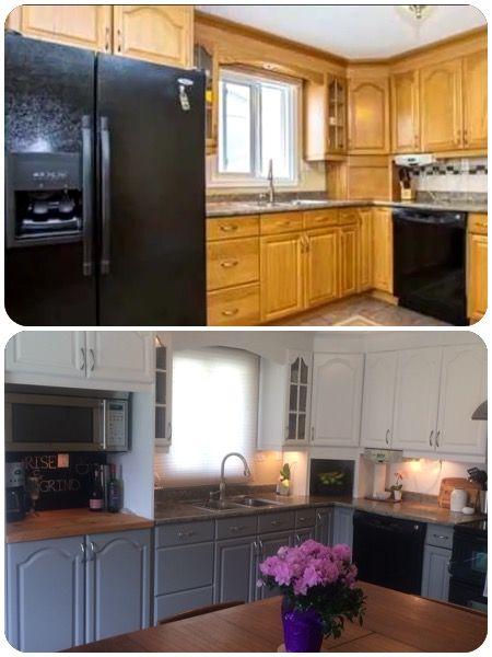 Oak Kitchen Cabinet makeover diy Benjamin Moore Advanced ...