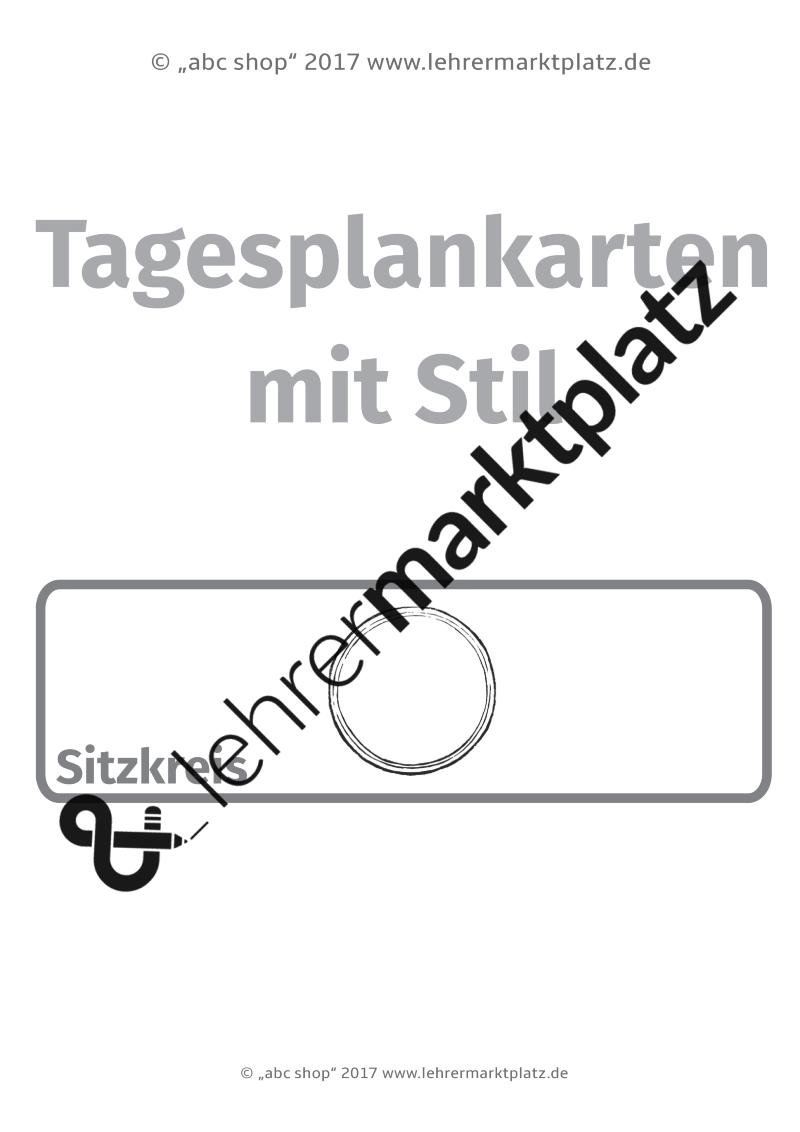 Tagesplankarten mit Stil: Deutsch, Mathematik Sachunterricht ...