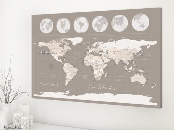 Personalized world map canvas print or push pin map world map with personalized world map canvas print or push pin map world map with globes countries and cities light earth tones gumiabroncs Image collections