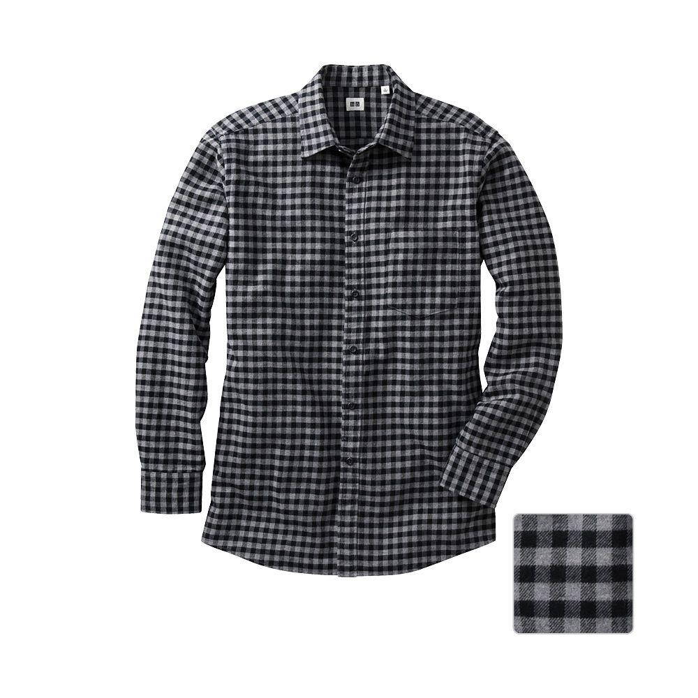 Uniqlo flannel check long sleeve shirt b o pinterest uniqlo