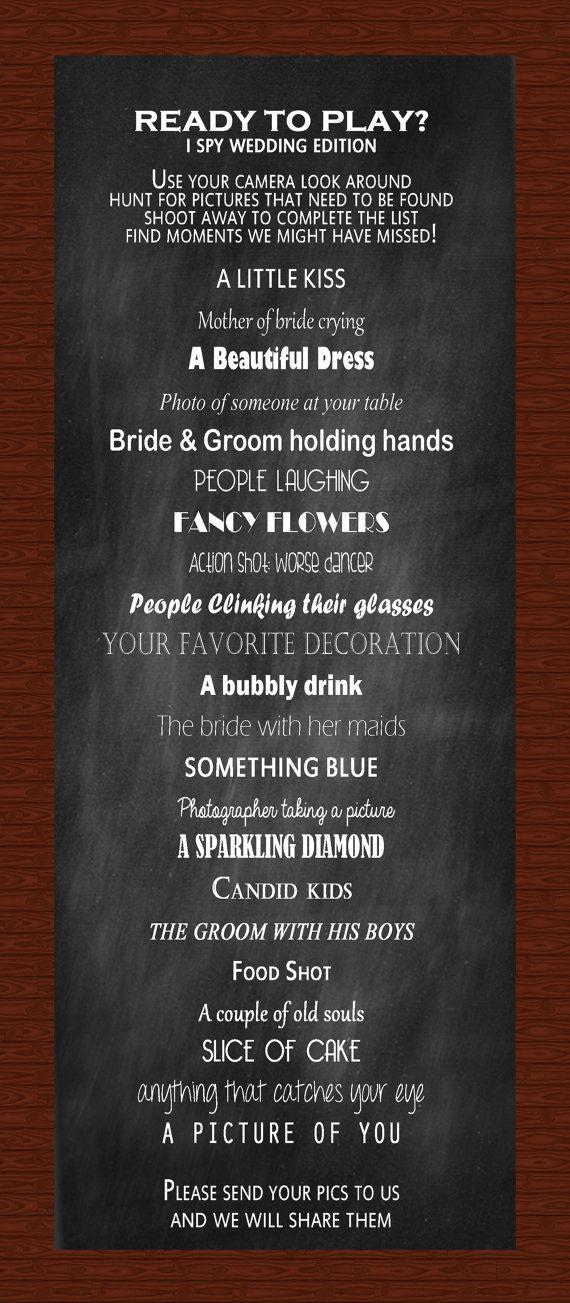 I Spy Wedding Reception Game Wedding Pinterest Wedding