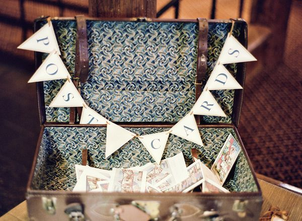 i LOVE the postcard idea. you could order them off etsy or just search vintage shops for them. In an old suitcase is cool