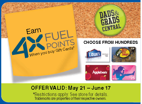 Kroger Earn 4X Fuel Points when you purchase gift cards