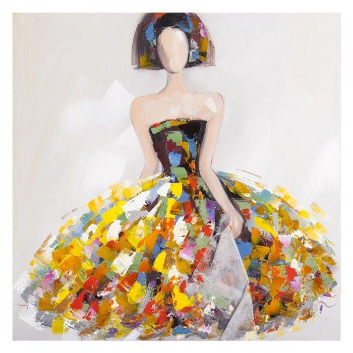 Cuadro menina multicolor lienzo pintura al leo en nuryba for Cuadros meninas modernas