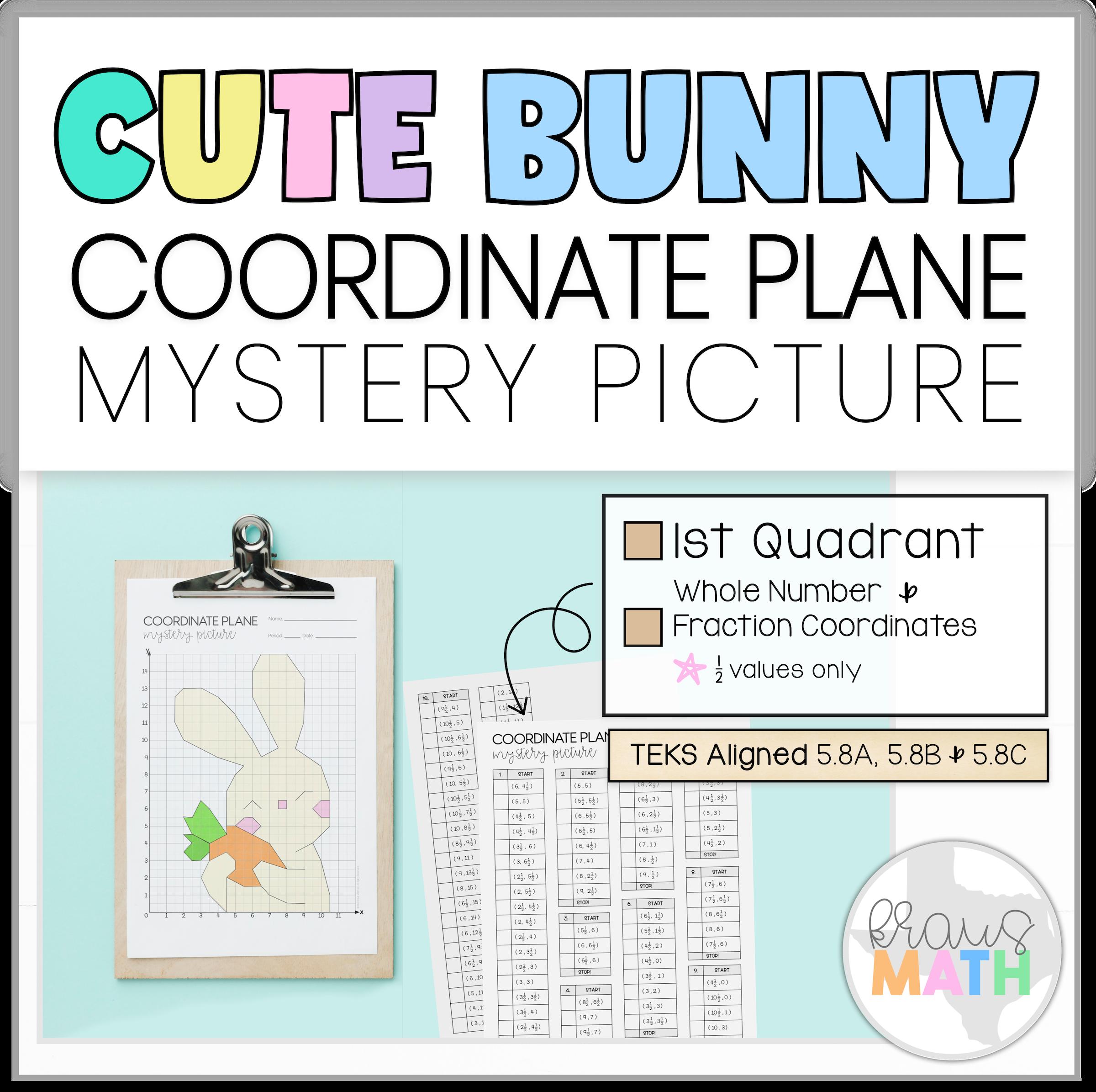 Cute Bunny Coordinate Plane Mystery Picture 1st Quadrant