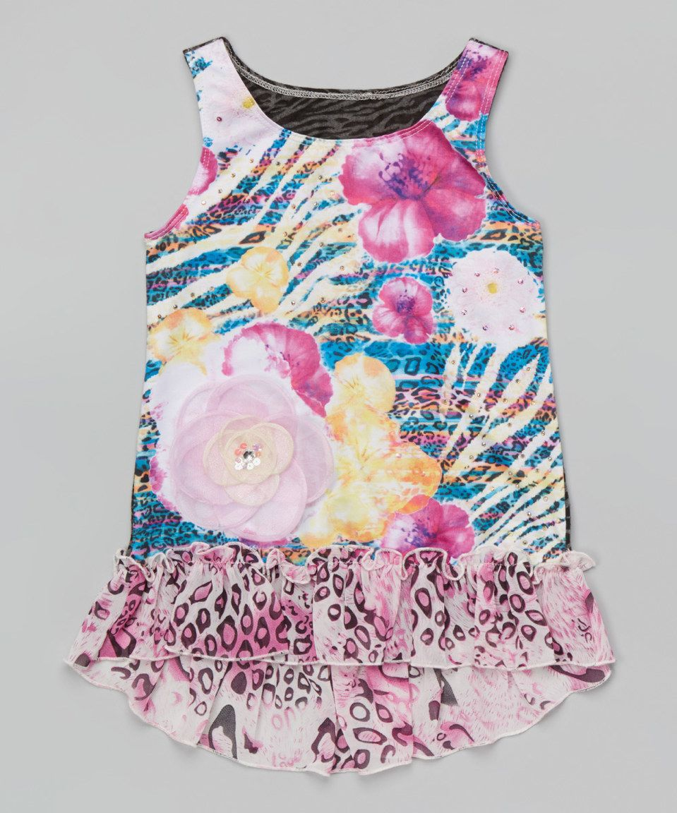 Another great find on #zulily! Pink Floral Sublimation Ruffle Tank - Girls by Lipstik Girls #zulilyfinds