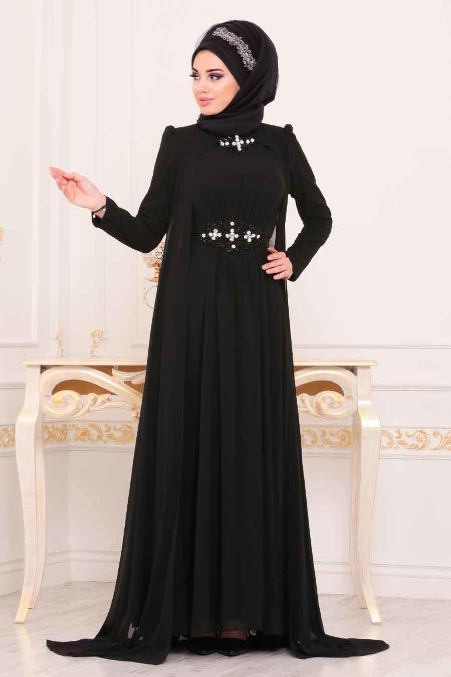 Tesetturlu Abiye Elbiseler Boncuk Detayli Siyah Tesettur Abiye Elbise 3851s Tesetturisland Com Elbiseler Mankenler Ve Moda Stilleri