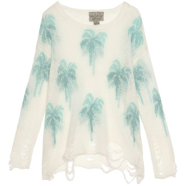 WILDFOX Santa Barbara Palm Sweater found on Polyvore