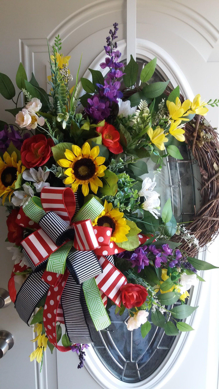 Photo of Spring summer wreath, modern sunflower, bold bright wreath, bold sunflower, sunflower wreath, sunflower vine, large bow wreath, colorful