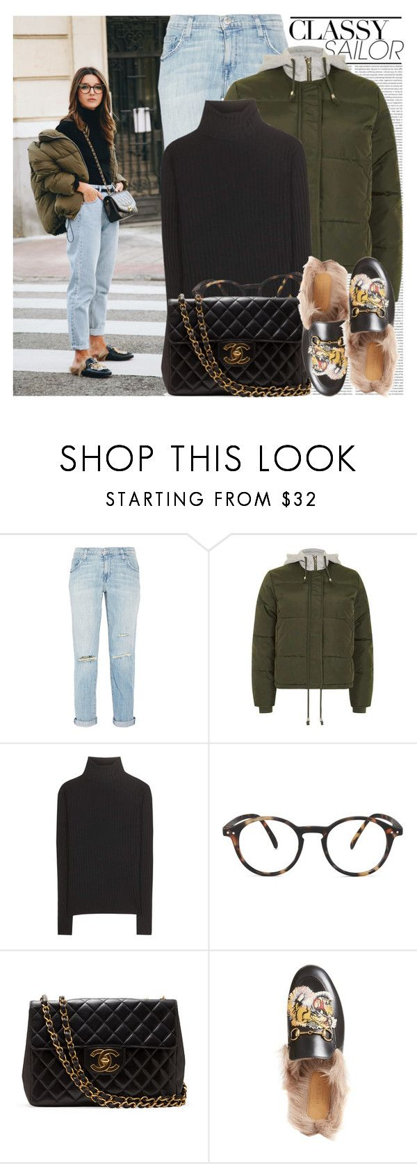 """2493. Blogger Style: Lovely Pepa"" by chocolatepumma ❤ liked on Polyvore featuring Oris, Current/Elliott, Topshop, Acne Studios, See Concept and Gucci"