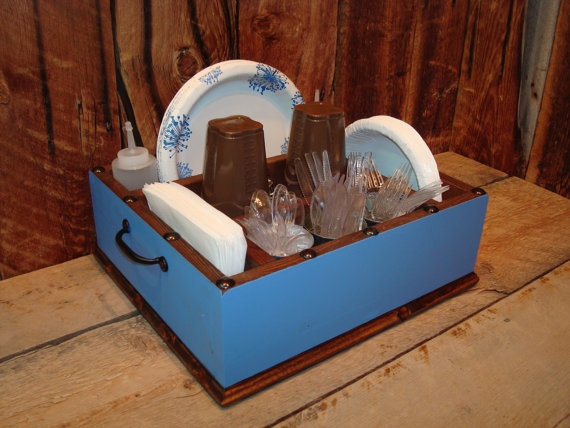 Table Caddy Napkin Holder Paper plate holder. Have a lot of parties? You need & Light blue utensil tableware caddy organizer for your napkins ...