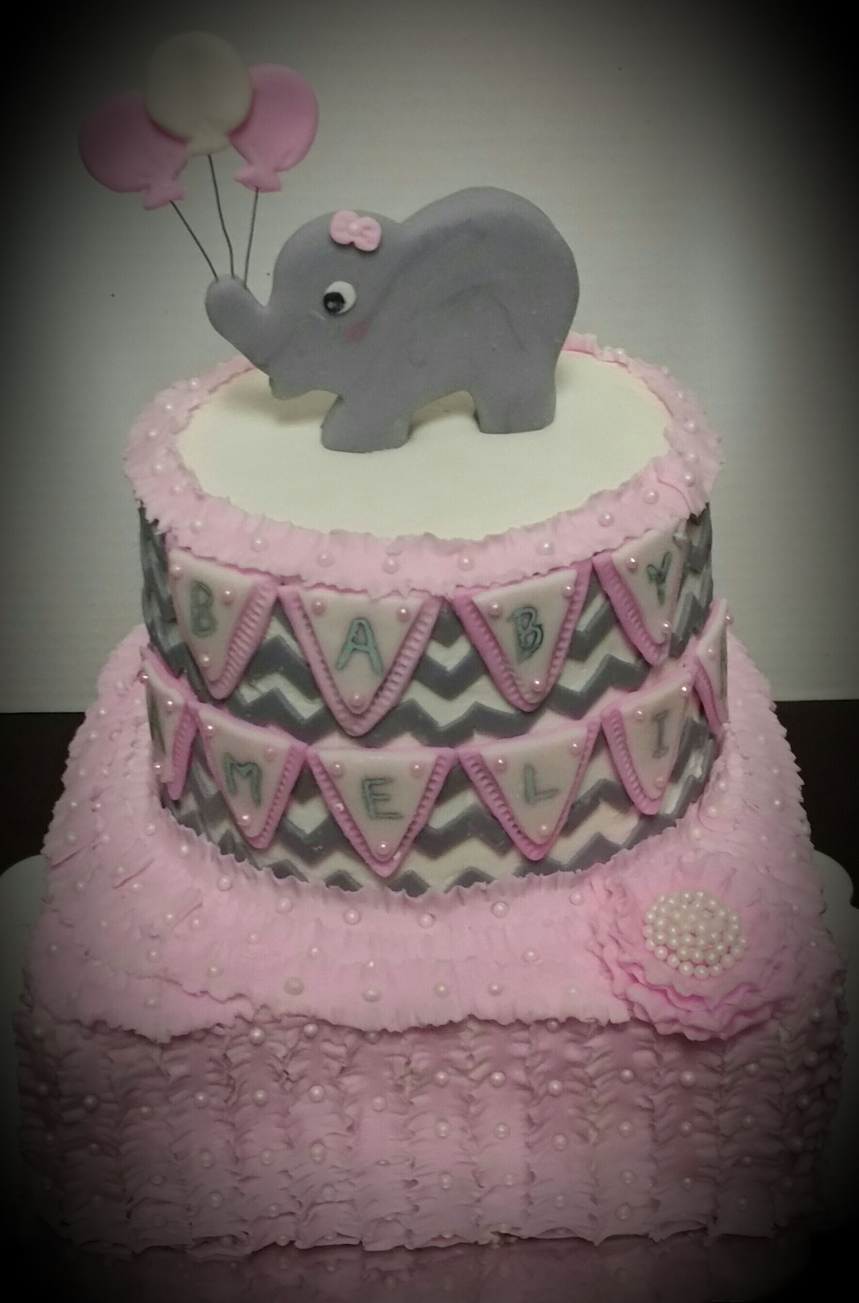 Elephant Baby Shower Cake Baby Girl Baby Shower Cake Pink and Gray