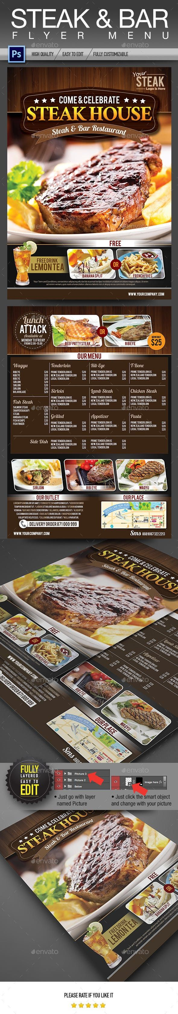 Steak & Bar Flyer Menu — PSD restaurant bbq
