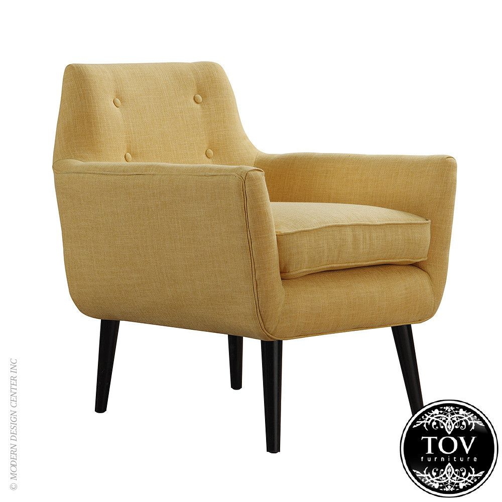 Clyde Mustard Yellow Linen Chair By Tov Furniture Upholstered
