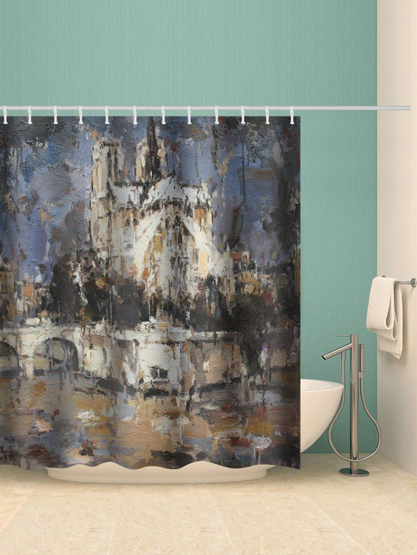 Notre Dame Painting Printed Waterproof Bathroom Shower Curtain Ad