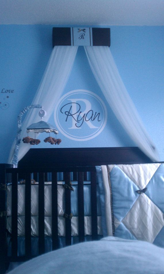 Crib Crown Canopy Prince Brown Blue Padded By