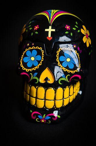 Ceramic Dia De Los Muertos Skull Sugar Skull Art Skull Art Sugar Skull