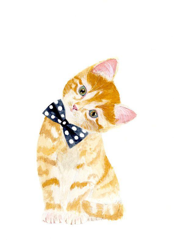 Kitten with bow tie Animal Paintings nursery kitten by zuhalkanar
