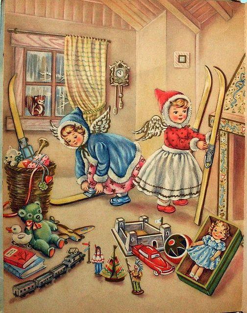 Immagini Natale Anni 50.Illustrazione Libro Mariapia Anni 50 4 Christmas Prints Vintage Christmas Cards Vintage Christmas