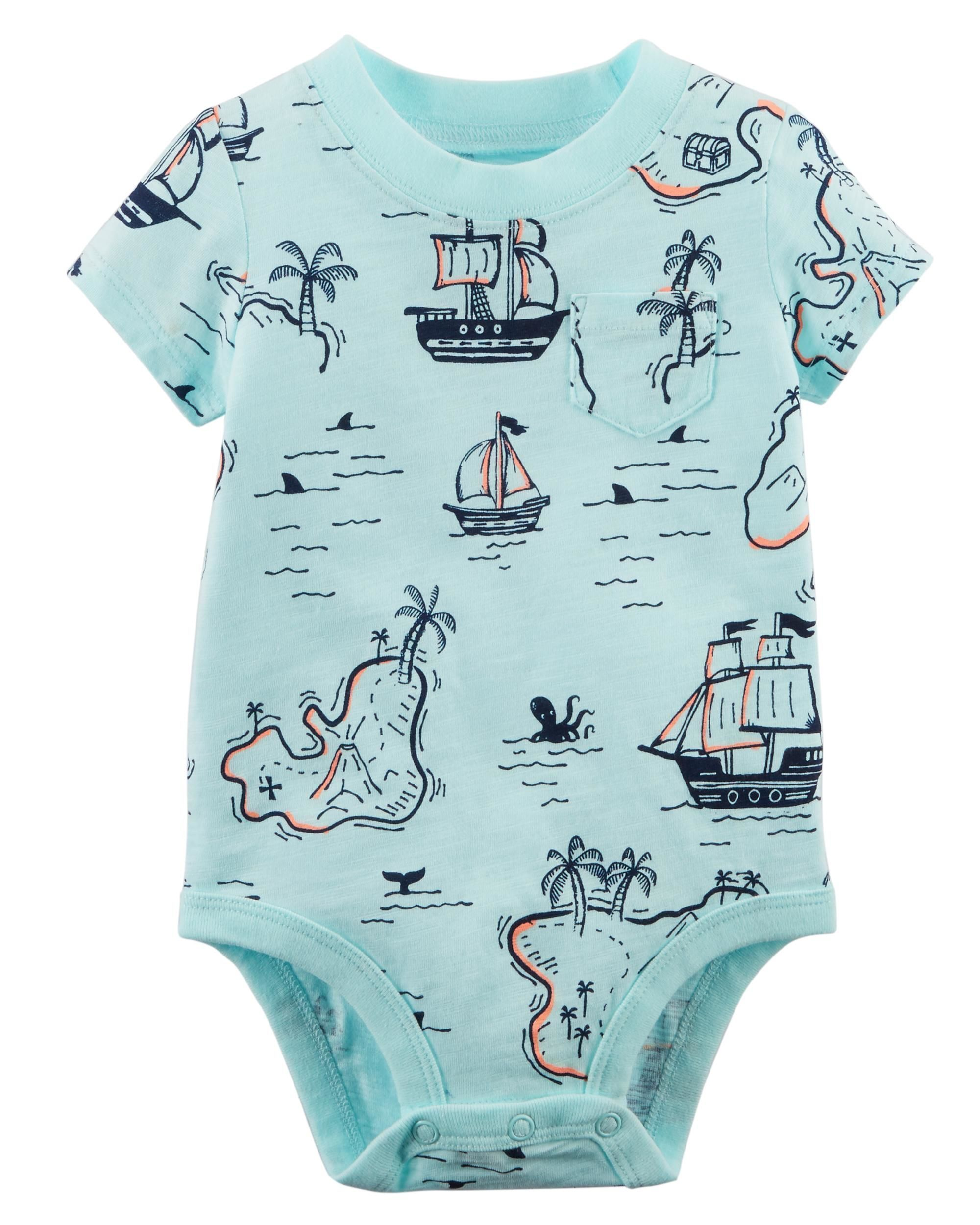 45bfbb2ce Baby Boy Pirate Map Bodysuit