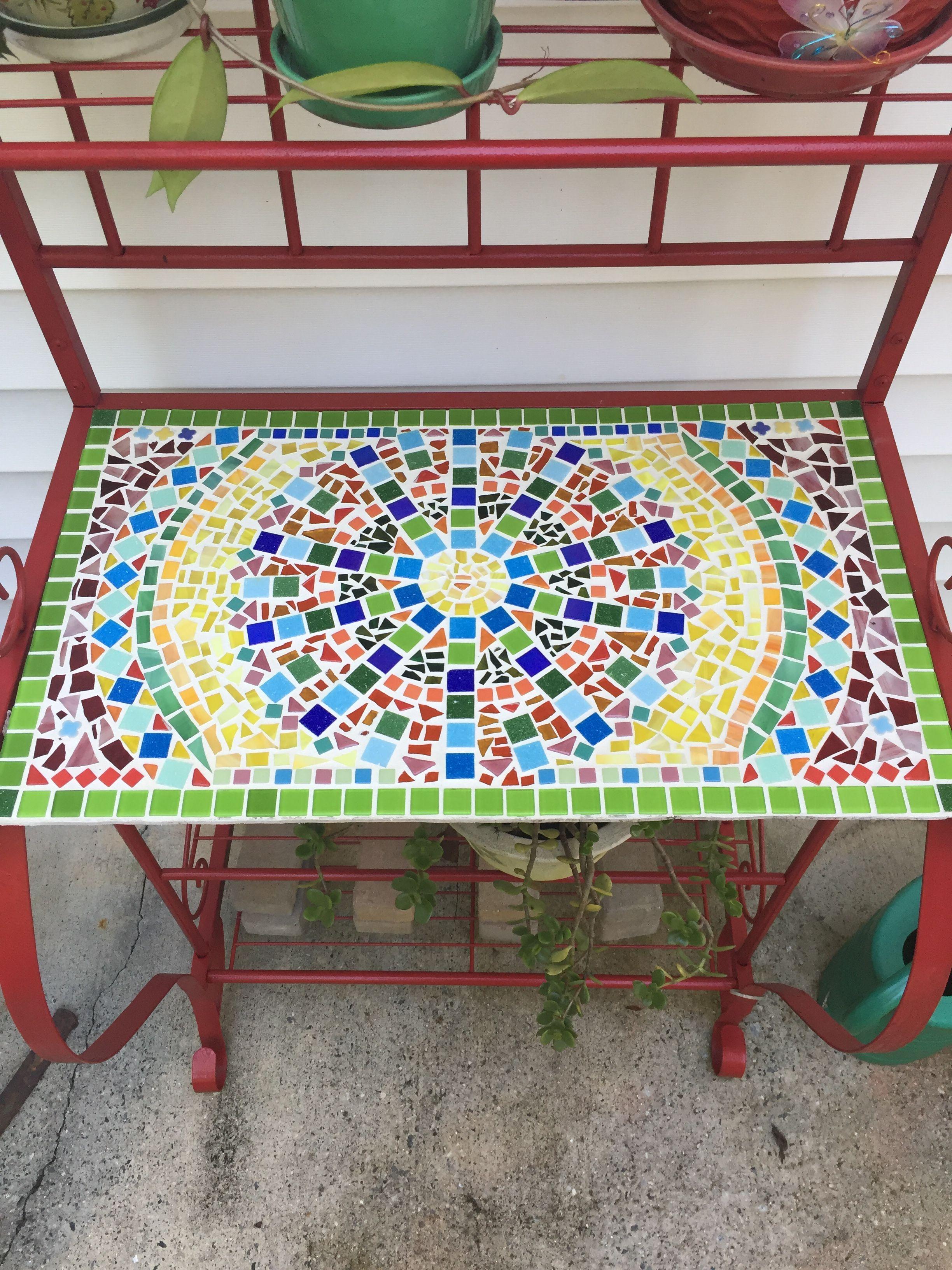 Mosaic Shelf For A Bakers Rack Mosaic Table Mosaic Decor