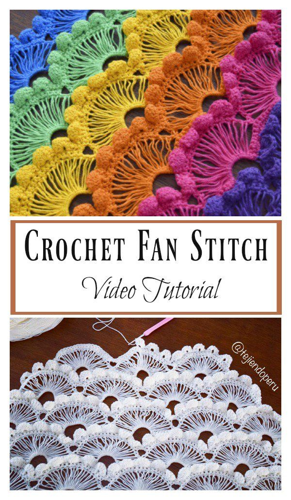 Crochet Fan Stitch Video Tutorial | Häkelmuster, Häkeln und Wolle