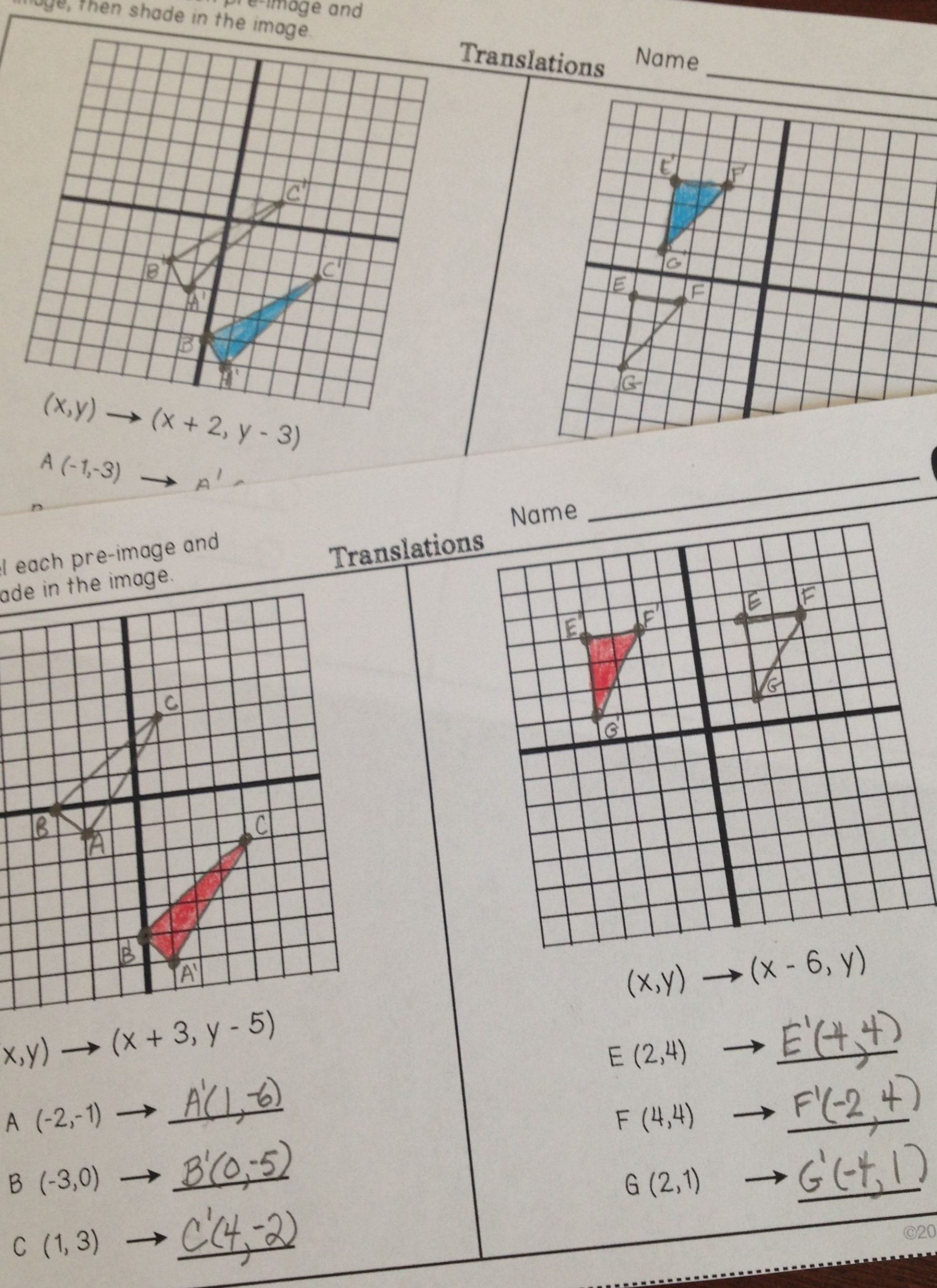 Geometry Transformations Worksheet Answers Transformations