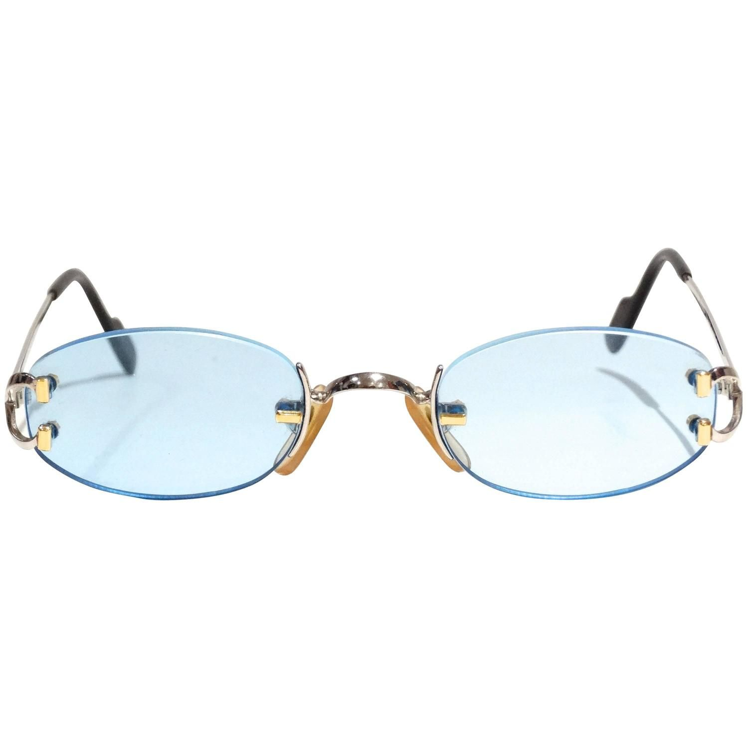c1fa0d6496 1990s Rimless Cartier Blue Lens Sunglasses