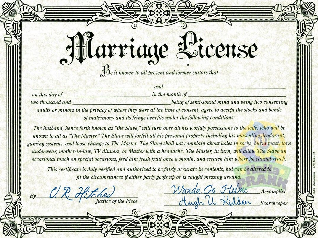 Fake Marriage Certificate Birth Certificate Template Wedding License Marriage License