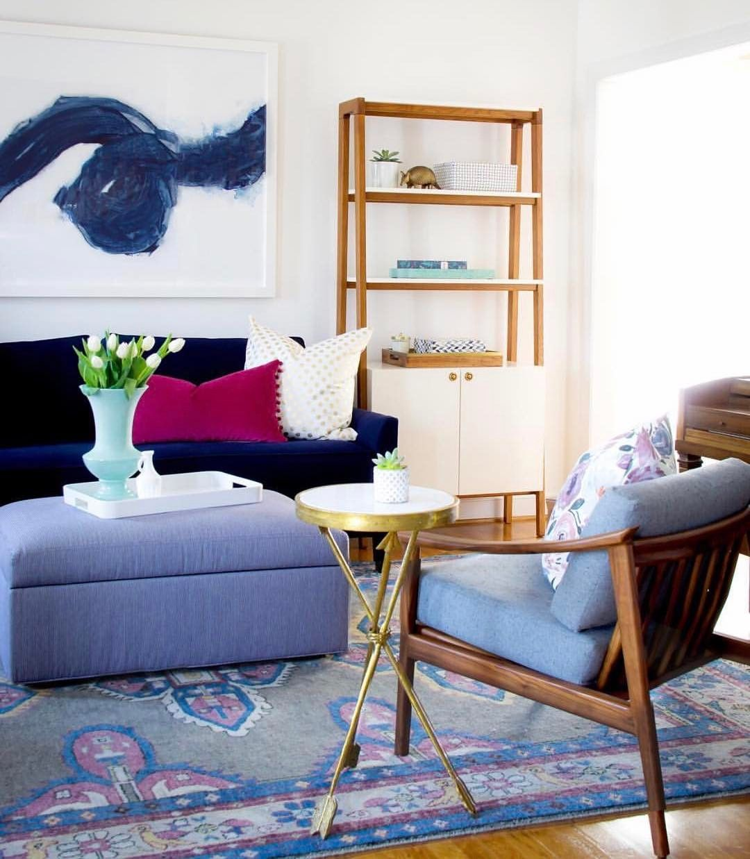 Pretty living room with our Kismet Rug in Mulberry | Caitlin Wilson