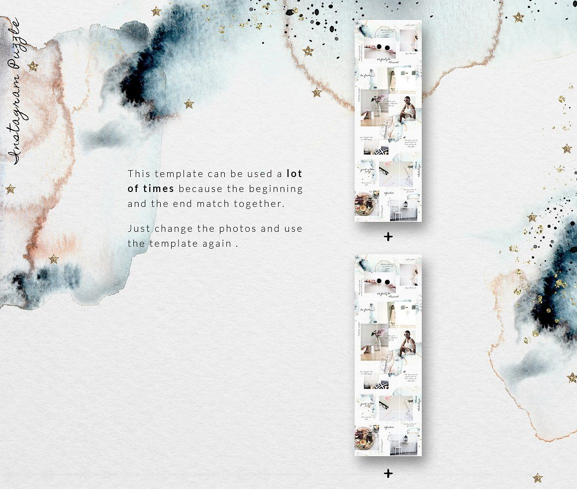Instagram Puzzle Template Watercolor With Images Instagram