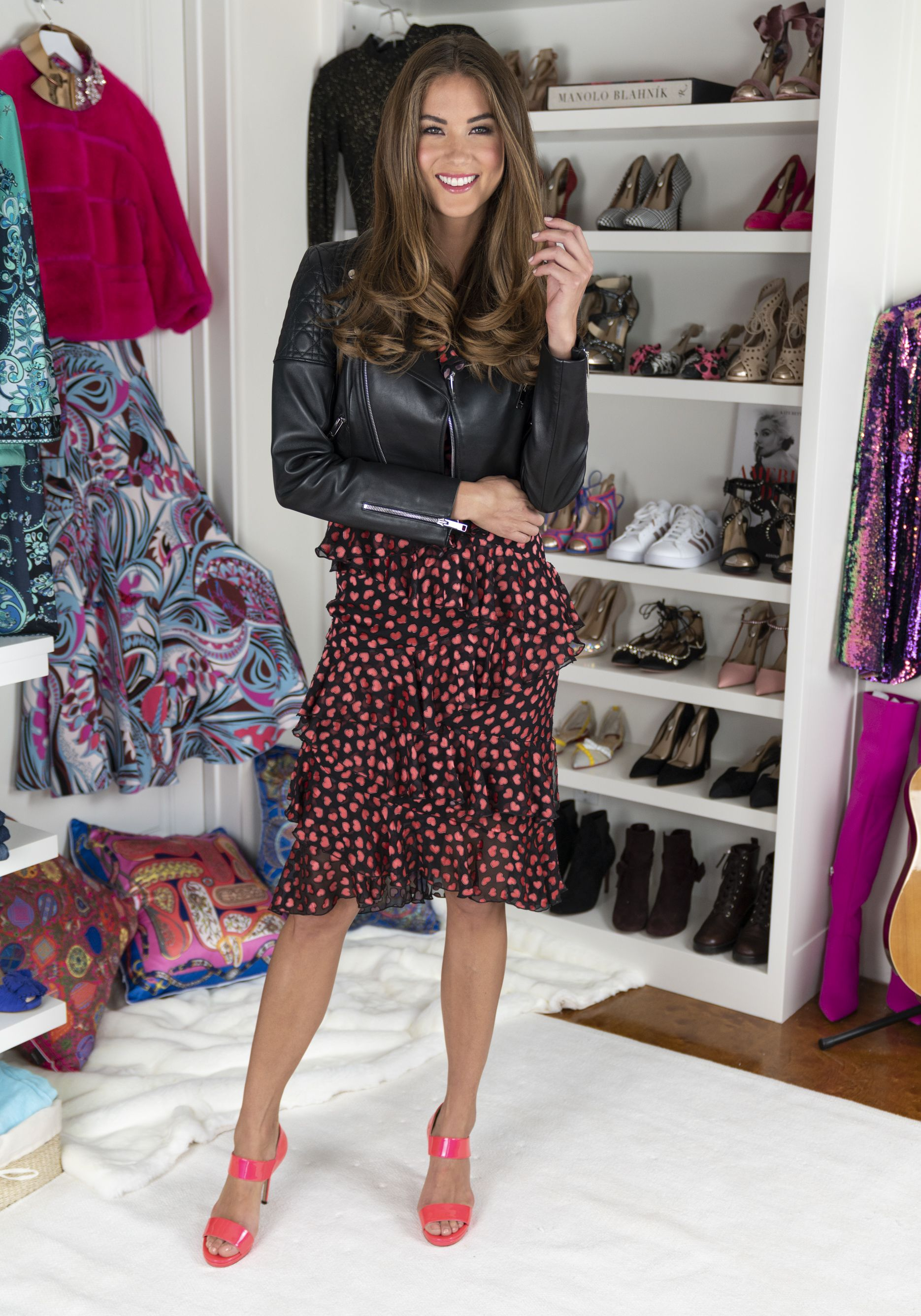 42a4085fd578 How to style heels with the cutest polka dot dress and chic leather jacket!