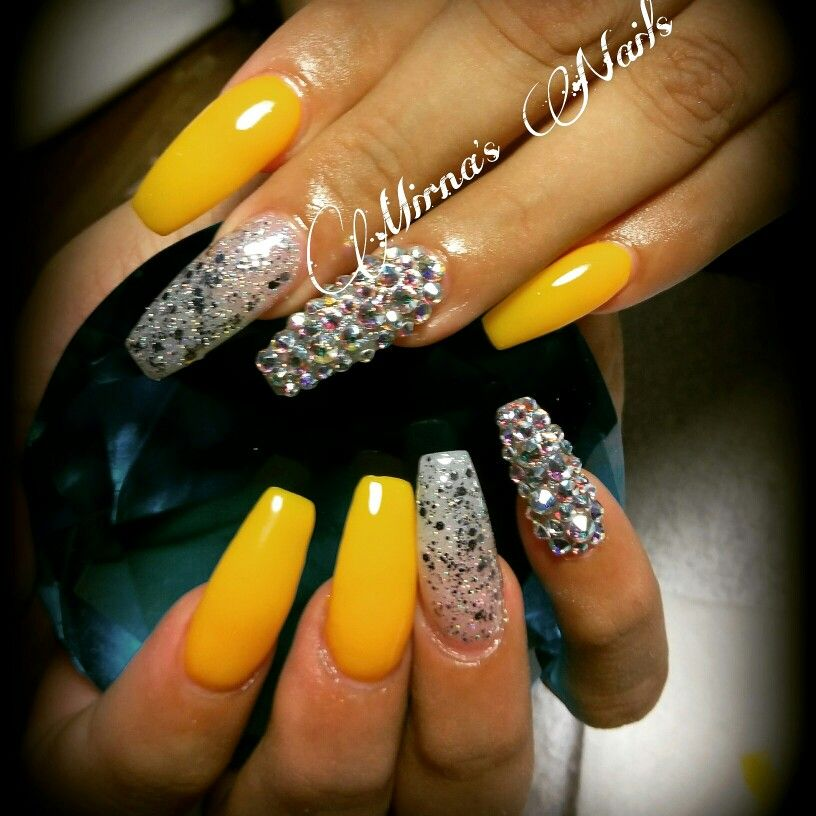 Yellow and silver coffin Nails
